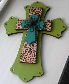 Cheetah Print Decorative Wall Cross by MadeWithLoveByLori