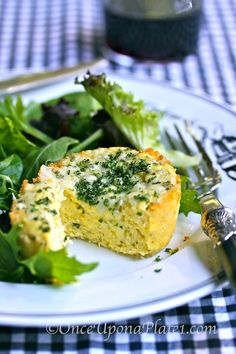 Once Upon a Plate: Warm Savory Mini-Cheesecakes with Dressed Baby Greens