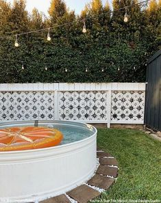 Obsessing over this summery backyard! Arrows & Bow- Ashley made her own DIY stock tank pool and painted her old fence with the You're A Star Tile… Stock Pools, Stock Tank Pool, Outdoor Spaces, Outdoor Living, Outdoor Decor, Outdoor Furniture, Pool Kits, Backyard Renovations, Old Fences