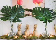 We can't get over how cute this party theme is. Southern Hospitality meets NYC Possibility came alive in spray painted pineapples, pink paper lanterns and Justin's incredible taste. See the details in the slideshow. Flamingo Party, Havanna Party, Deco Baby Shower, Diy Shower, Shower Party, Shower Ideas, Tropical Party Decorations, Tropical Decor, Tropical Interior