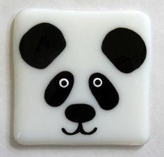 Panda coaster mat fused glass coaster cute by NaomisStainedGlass