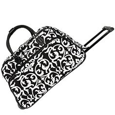 World Traveler 21 Inch Rolling Duffel Bag Black Trim Damask One Size * Find out more about the great product at the image link.