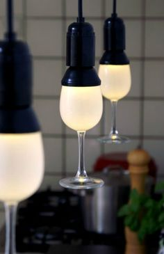#Upcycle This! 15 Ways to Reuse #Wine Glasses. Hanging lamps. #diy