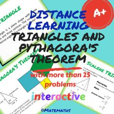 Distance learning Interactive Triangles and Pythagora's theorem Learning Resources, Teacher Resources, Science Resources, Classroom Resources, Secondary Math, Secondary Resources, Online Lessons, Math Notebooks, Teacher Tools