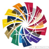 Don't like the Big Ten, but this logo is really cool Wheel Logo, Logo Inspiration, Geometric Shapes, Something To Do, Color Schemes, Weird, Rainbow, Contemporary, White Space