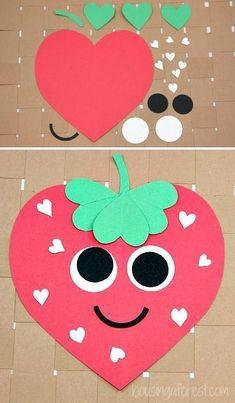 Heart Strawberry Craft ~ Valentines Craft for Kids crafts Woodland Wedding Ideas Trend 2019 Valentine's Day Crafts For Kids, Valentine Crafts For Kids, Daycare Crafts, Crafts To Do, Preschool Crafts, Projects For Kids, Holiday Crafts, Craft Projects, Children Crafts