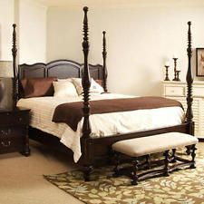 Espresso Wooden Queen Size Four 4 Poster Bed Headboard Rustic Modern Country