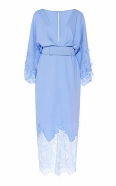 Costarellos Crepe Plunging Neckline Blouson Dress With French Lace Hem in Blue - Lyst Simple Dresses, Day Dresses, Blue Dresses, Beautiful Dresses, Blue Midi Dress, Chiffon Dress, Daily Dress, Chantilly Lace, Classy Outfits