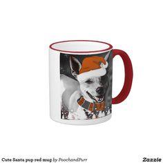 Cute Santa pup red mug