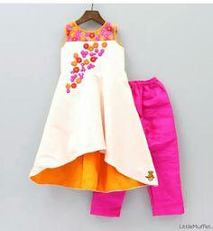 Off white, orange and pink flared kurta with pink chudidar by little muffet. Kids Indian Wear, Kids Ethnic Wear, Frocks For Girls, Little Girl Dresses, Girls Dresses, Formal Dresses, Kids Lehenga, Kids Frocks Design, Frock Design