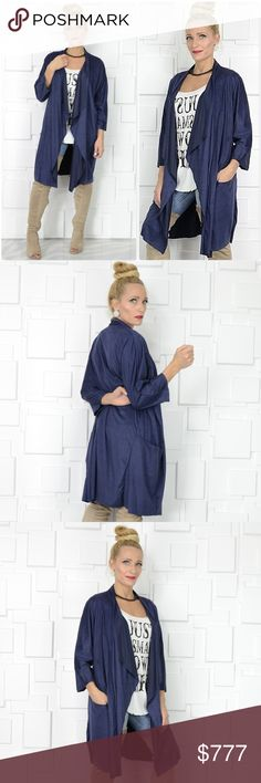 "NAVY BLUE FAUX SUEDE DUSTER CARDIGAN Brand new, Boutique item  **MORE COLORS AVAILABLE** Classy Navy Blue faux suede draped duster/cardigan! It's perfect for the season featuring soft to the touch faux suede and pockets. This piece is easy to pair with your favorite jeans and top!!  True to size Fabric Content: 90% POLYESTER 10% SPANDEX Made in the USA  ""Also available in blush pink and rusty orange, listings are in my boutique* pic #4 . Tops"