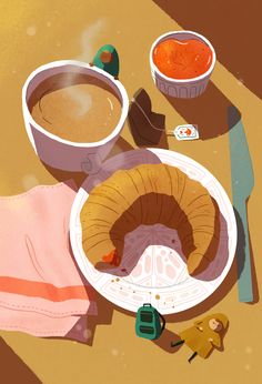 Coffee Illustrations on Behance Art And Illustration, Coffee Illustration, Illustrations And Posters, Graphic Design Illustration, Cafe Art, Food Painting, Guache, Of Wallpaper, Types Of Art