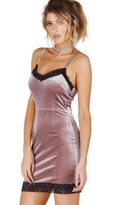 Velvet Lace Cami Dress Mauve