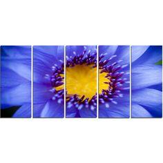 DesignArt 'Blue Lotus Close-Up Watercolor' 5 Piece Graphic Art on Wrapped Canvas Set