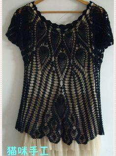 crochet top with diagram o(∩_∩)o. Crochet Woman, Love Crochet, Crochet Baby, Knit Crochet, Things To Make With Yarn, Pineapple Crochet, Crochet Blouse, Short Tops, Crochet Clothes