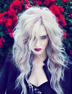 Pastel hair and a berry lip.  LOVE the colors!  Vampy.