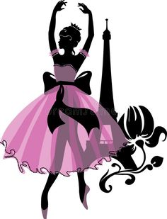 Graphic Silhouette Of A Ballerina Woman. Isabelle Series Stock Vector - Illustration of dream, composition: 98878935 Flower Silhouette, Woman Silhouette, Silhouette Design, Pink Walpaper, Paris Cards, Ballet Drawings, Woman Sketch, Pretty Drawings, Fashion Figures