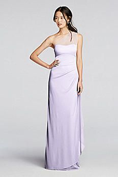 Illusion Mesh Dress with Asymmetric Neckline F19074