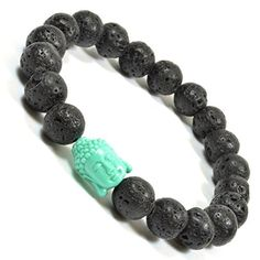 Lava Rock Beaded Bracelet with Teal Colored Acrylic Buddha Positive Energy Bracelet by Tag Twenty Two -- Awesome products selected by Anna Churchill