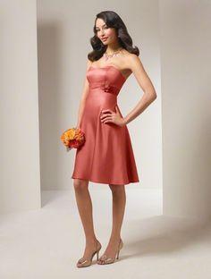 Short Style Flower Strapless Satin Bridesmaid Dresses
