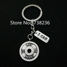 Key Chains Double Nose Fashion Aliexpress Hot Sale Strong Is Beautiful Weight Plate Dumbbell Gym Sport Inspire Key Holders Jewelry