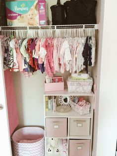 Baby closet organization tips and nursery closet organizing ideas. Ready to get that nursery closet organized? Below are a few more of our favorite creative ways to organize the nursery closet and get Baby Nursery Closet, Baby Girl Closet, Girl Nursery, Nursery Room, Bedroom, Kid Closet, Closet Space, Nursery Ideas, Dorm Room