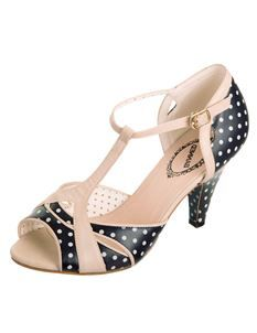 Banned Norma 1940's Polka Dot Shoe In Navy