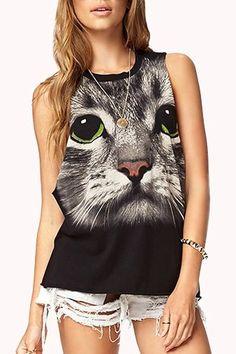 cat tank top| $8.41  pastel grunge grunge hipster harajuku fachin cat tank top top under10 under20 under30 sammydress