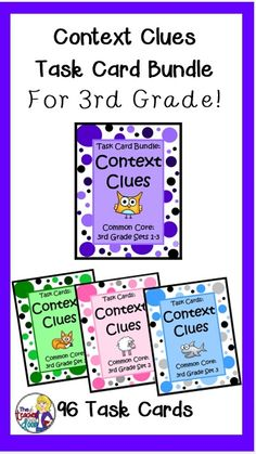 Awesome concentrated context clues practice with three sets (total of of 96) Task Cards for 3rd graders! $ Reading Strategies, Reading Skills, Teaching Reading, Reading Comprehension, Teaching Ideas, Reading Classes, Reading School, 6th Grade Ela, Third Grade Reading