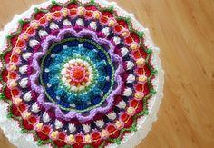 Mandala Crochet Pattern Stool Cover Pillow Cover by FeltedButton