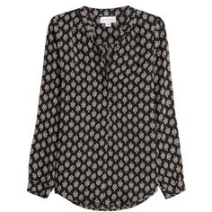 Velvet Printed Blouse (5.420 UYU) ❤ liked on Polyvore featuring tops, blouses, shirts, black, v neck blouse, shirts & blouses, black vneck shirt, button front shirt and v-neck tops