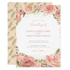 Watercolor Rose Foliage Floral Wedding Invitation - wedding invitations cards custom invitation card design marriage party