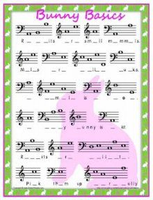 This site is awesome!  They have tons of worksheets to teach kids music.  Bunny Basics - a Note Story