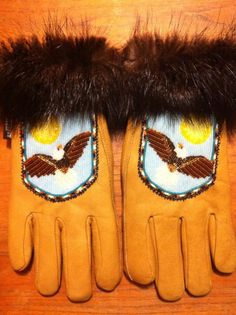 Men's beaded gloves with beaver fur trim, Alaska native beadwork by Liisia Carlo Edwardsen