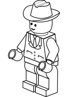 Lego Man In Cowboy Hat Coloring Page Pages For Kids