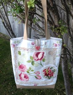 #Handmade fabric market bag #shabby-chic, #roses, #vintage #lacy linen serviette, #cross-stitch. Made by Pintrish