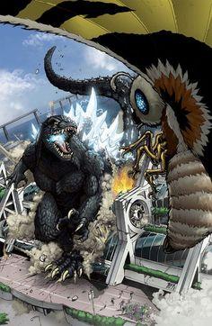 Godzilla and Mothra destroy Comic-Con. Art by Matt Frank, colors by Josh Perez