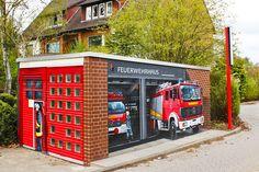 Art-EFX-Substation as Mini Fire Truck Station  in Großburgwedel,  #artefx, #murals, #muralpainting, #streetart, #graffitiauftrag, #substation, #illusionsmalerei, #firetruck, #firefighter, #feuerwehr, #großburgwedel