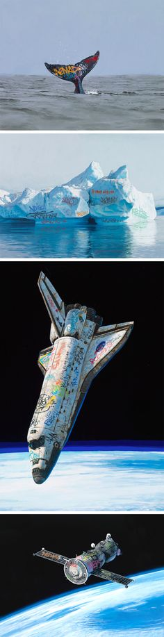 Speculative Paintings of a Graffiti-Covered Earth by Josh Keyes