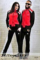 Спортивный костюм мужской и женский Adidas черный с красным 4018
