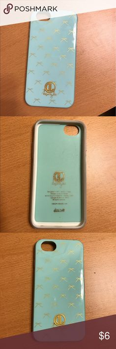 Teal with Gold Ribbons Dabney Lee IPhone 6/6s Case Teal color case // Gold ribbons design // for iPhone 6/6s but it also fit my iPhone 7 case // Outside cover has a few scratches & letters inside of case in a little faded Dabney Lee Accessories Phone Cases