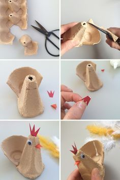 Eierbecher basteln – 13 Ideen zum Osterbasteln mit Kindern Easter decoration idea – make your own chicken from egg carton The post Tinker egg cups – 13 ideas for Easter tinkering with children appeared first on Huge. Easter Craft Activities, Bunny Crafts, Easter Crafts For Kids, Children Crafts, Egg Carton Crafts, Diy Easter Decorations, Easter Centerpiece, Egg Cups, Easter Table