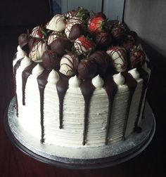 Chocolate Strawberry topped Red Velvet Cake with a gorgeous chocolate ganache drizzle