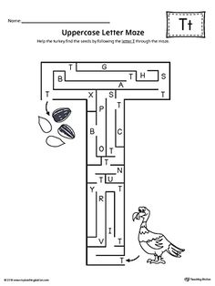 Uppercase Letter T Maze Worksheet Worksheet.If you are looking for creative ways to help your preschooler or kindergartener to practice identifying the letters of the alphabet, the Uppercase Letter Maze is the perfect activity. Letter T Worksheets, Letter T Activities, Maze Worksheet, English Worksheets For Kids, Handwriting Worksheets, Preschool Letters, Preschool Worksheets, Handwriting Practice, Letter Maze