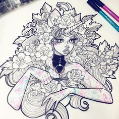 Gwen D'Arcy Illustration. GwenDArcy tattooedwomen tattooart tattooillustration fantasy illustration artshare