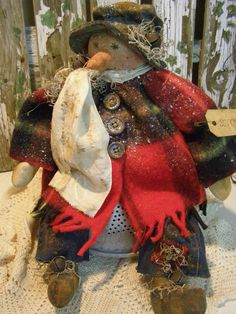 PRIMITIVE FALL SNOWMAN DOLL BLANKET  OLD BUTTONS HARVEST FOLK ART SNOWMAN DOLL #NaivePrimitive
