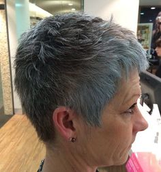 Short Gray Pixie For Straight Hair