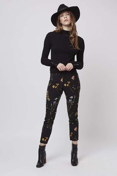 Sleek tailoring meets pretty florals with these cute printed cigarette trousers. For a retro look, style with a funnel-neck top and ankle boots. #Topshop