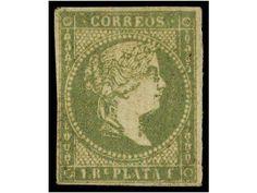 Spanish West India - COLONIAS ESPAÑOLAS: ANTILLAS. Ed.5. 1 real verde amarillo. Márgenes completos, muy bonito ejemplar. Sello muy raro en nuevo. Cert. COMEX. Cat. 1.110€.