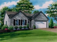This x watercolor painting depicts a young couple's first home and was commissioned by the husband as gift for his wife to celebrate their wedding anniversary. Watercolor Portraits, Watercolor Paintings, House Paintings, 1st Wedding Anniversary, First Home, Custom Homes, Cottages, Watercolors, Husband